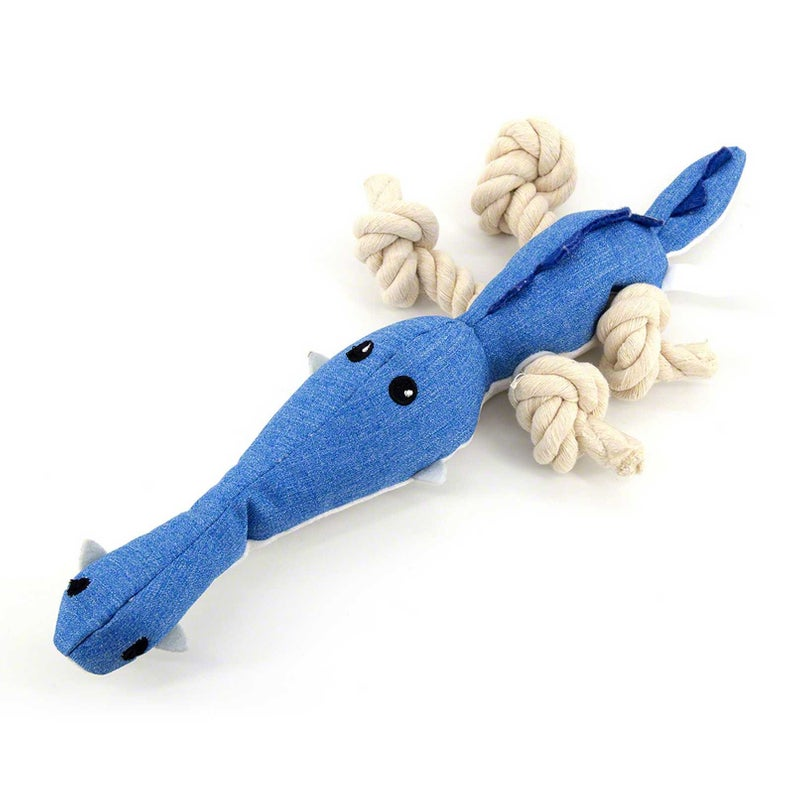 Interactive Dog Toys Cute Blue Dinosaur Best Tough Stuffed Interactive Dog Plush Toys For Aggressive Chewers With Squeakers