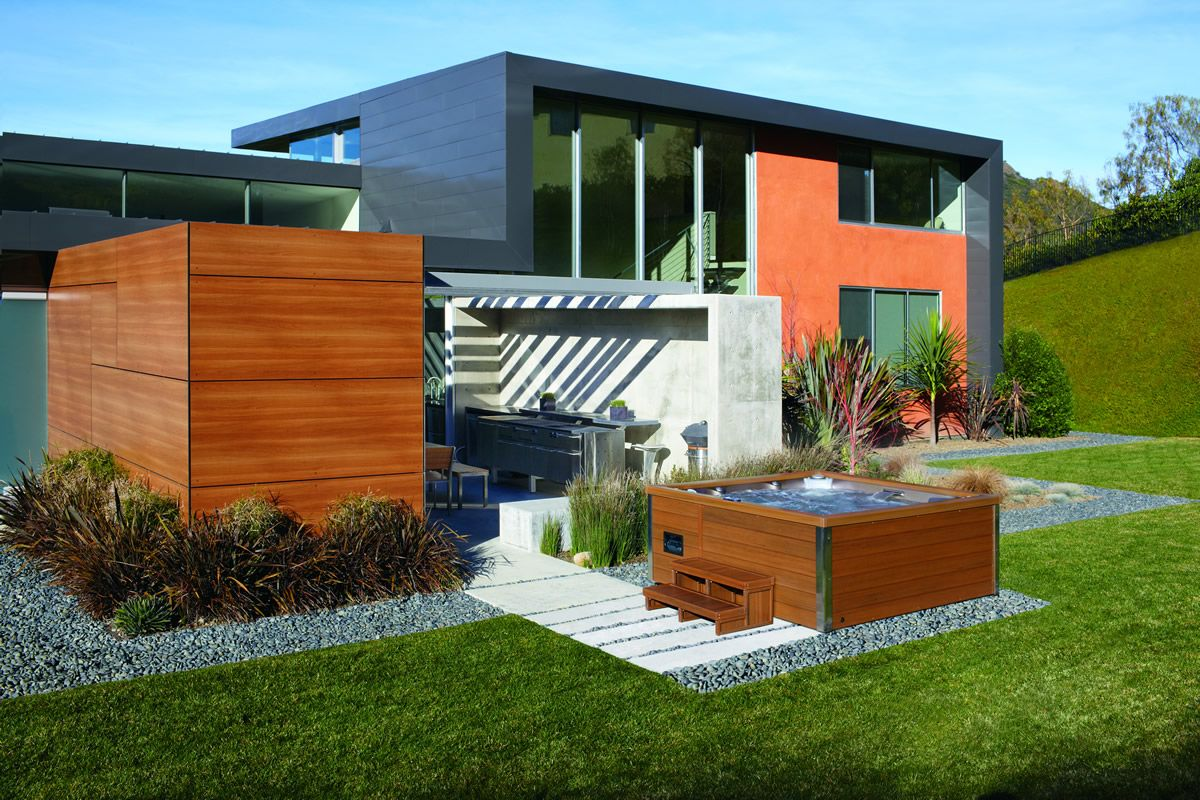 This Modern Hot Tub Is A Perfect Fit For This Ultra Modern House Modern Landscape Design Modern Landscaping Outdoor Living Blog