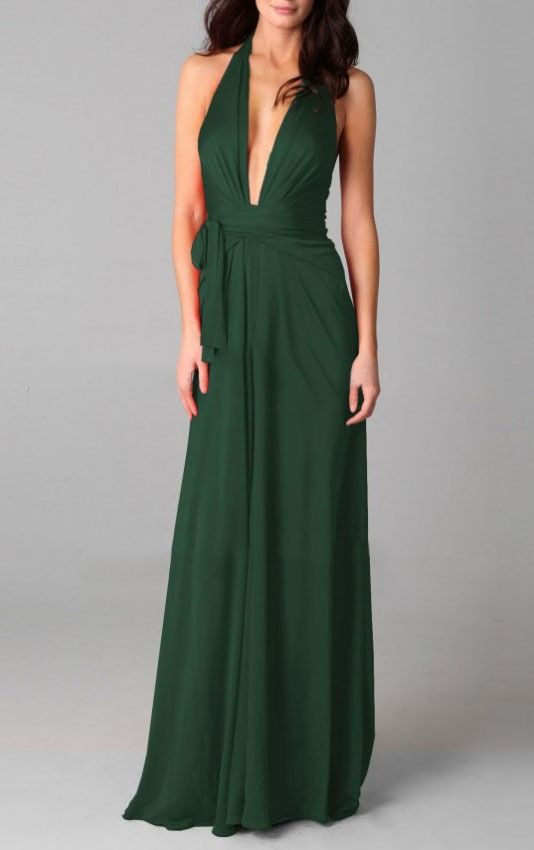 Ultra Low cut neckline and Drape front green dress | itakeyou.co.uk