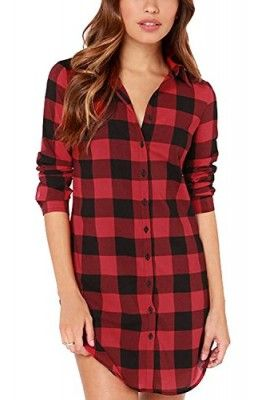 Oure-Women-Red-Plaid-Boyfriend-Top-Bouse-Long-T-Shirt-Dress-0-270x400.jpg (270×400)