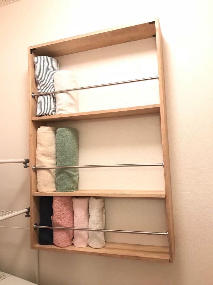 タオル収納用の棚です 幅54センチ 高さ89センチ 奥行き12センチ下段内