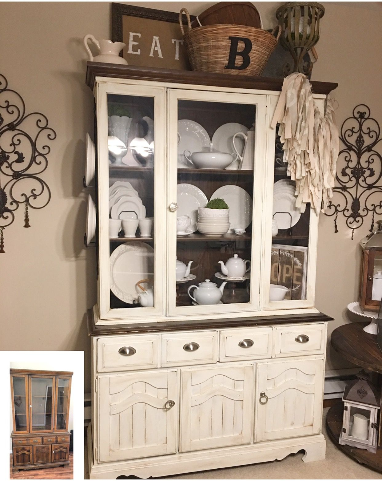 Before And After China Cabinet I Use Valspar Chalk Paint One Thing I Love The Most Is Flipping China Cabinet Decor Antique China Cabinets China Cabinet Redo