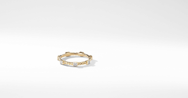 David Yurman Davidyurman Cable Collectibles Ring With Diamonds In 18k Gold Rings 18k Gold Diamond