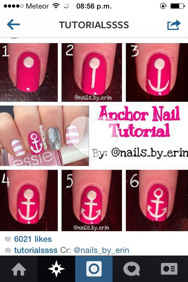 Diy Anchor Nail Tutorial Beauty Pinterest Anchor Nails