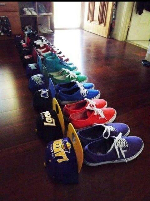 Lot of colour shoes