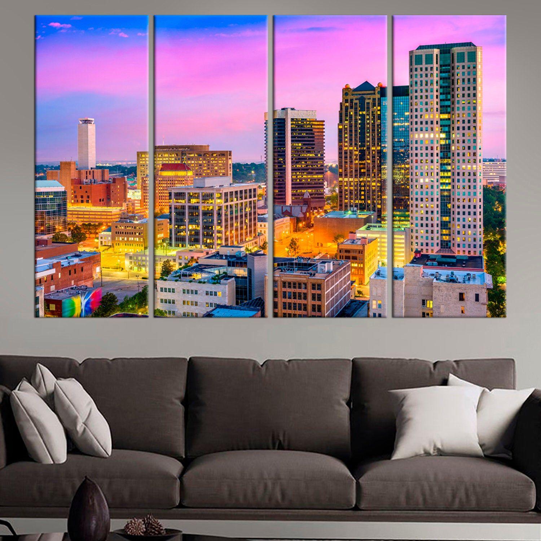 Large Birmingham Alabama Canvas Print Birmingham Wall Art Usa Etsy In 2020 Birmingham Art Cityscape Art Canvas Prints