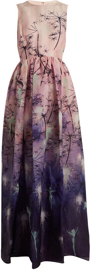 MARY KATRANTZOU Shaw sleeveless fairy-print silk gown