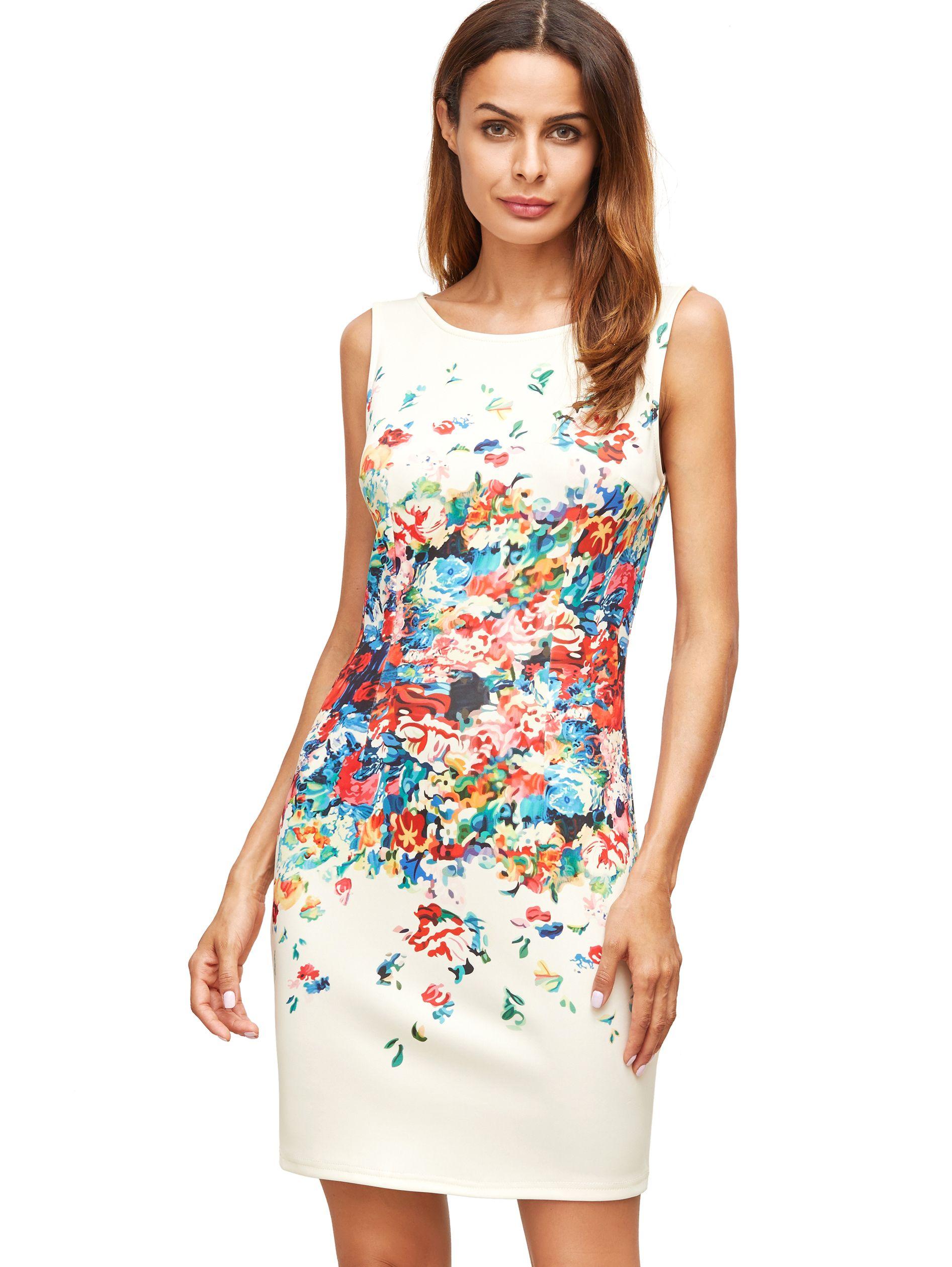 Shop Apricot Floral Print Sleeveless Sheath Dress Online Shein Offers Apricot Floral Print Sl Floral Dress Summer Mini Dresses Summer Summer Dresses For Women [ 2520 x 1893 Pixel ]