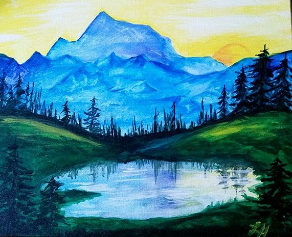 Landscape Paintings Simple Acrylic Painting Canvas Art Paint Party Waterfall Ideas Drawing Projects