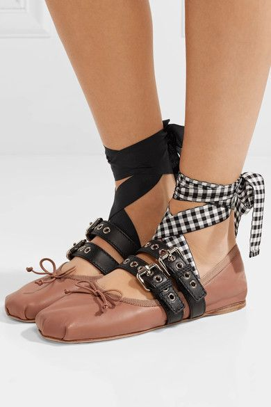 Pink Lace Up Leather Ballet Flats Miu Miu Diy Ballet Flats Fashion Cowboy Boots Leather Ballet Flats