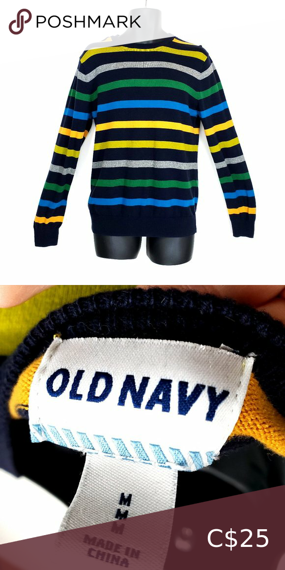 OLD NAVY Striped Sweater MultiColor Navy Men's M OLD NAVY