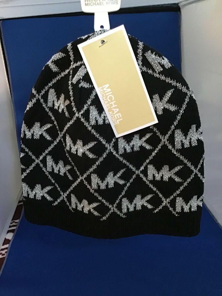 8b896c4da866f Michael Kors Mk Logo Black And Silver Metallic Beanie Winter Hat 💛🖤💛