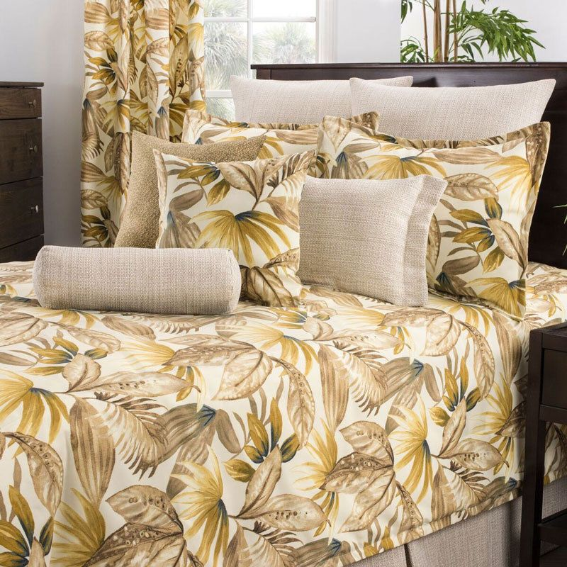 Palm Fronds Leaves Tropical Beach Bedding Comforter Bed Set 4 Pc King Usa Made Home Garden Bedding Comfo Brown Comforter Sets Bedding Sets Bed Comforters