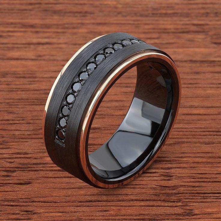 Black Zirconium, 14k Rose Gold and Black Diamond Wedding
