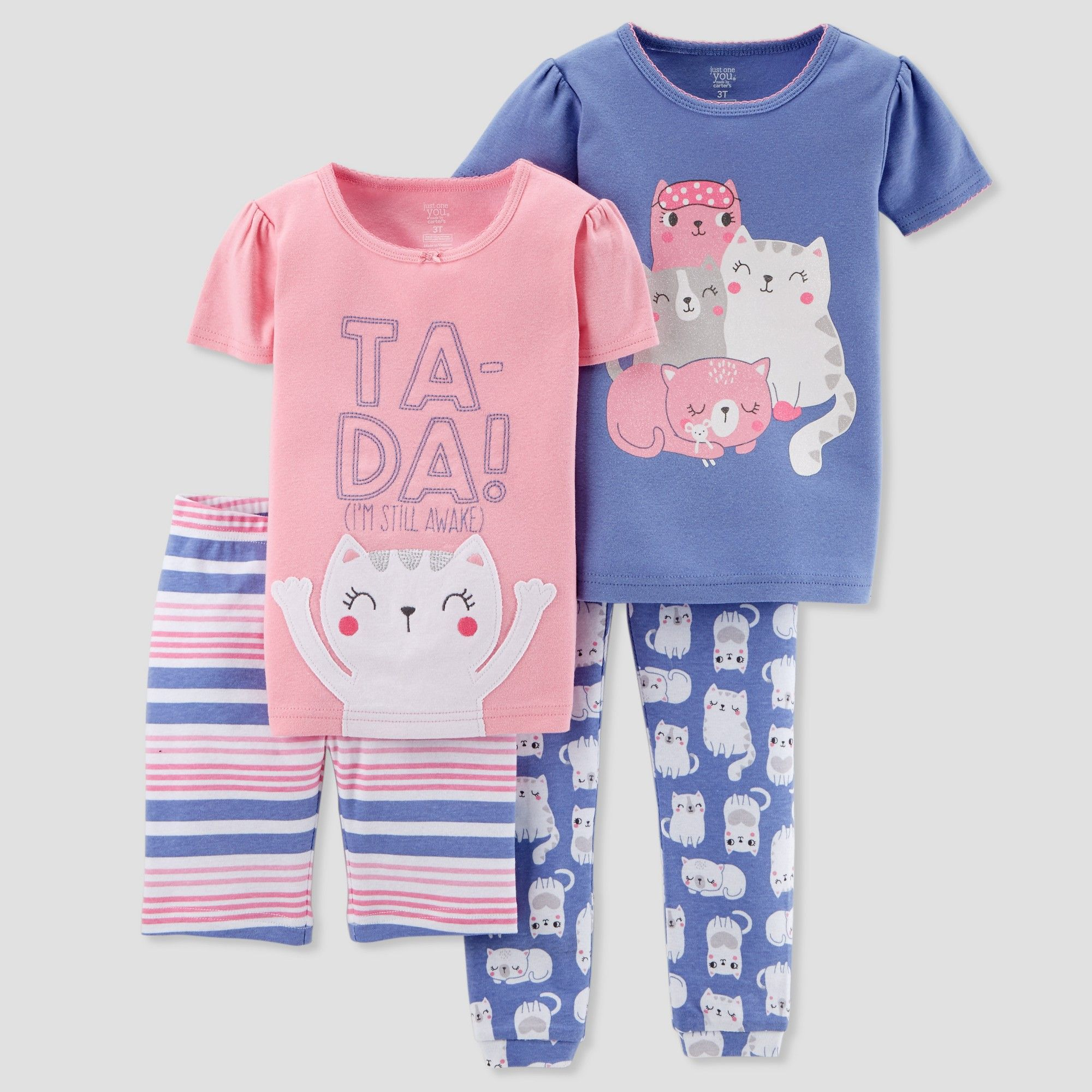 ceca15bd82 Toddler Girls  4pc Ta-Da Cat Family Pajama Set - Just One You made by carter s  Pink 4T