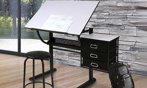 Groupon bureau table à dessin avec tabouret et tiroirs de