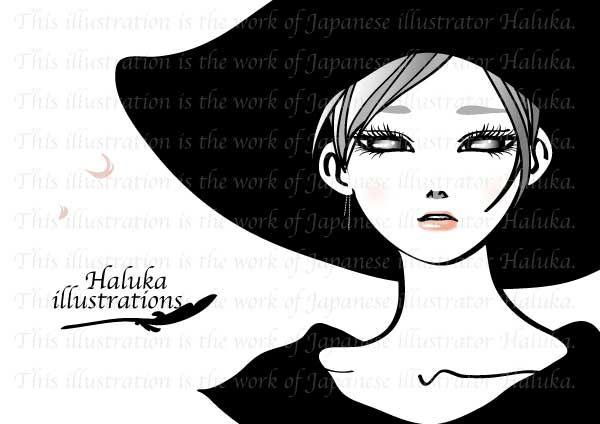 Illustration Japan Girl イラスト モノトーン 帽子 Blackwhite