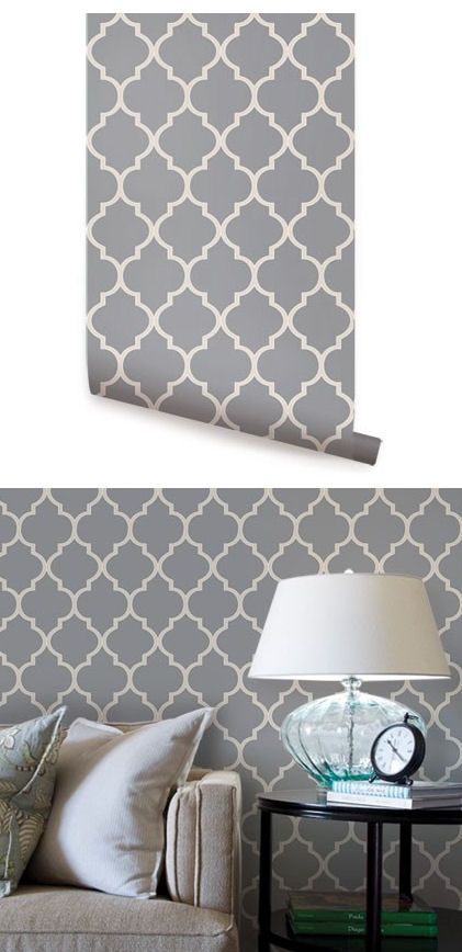 Moroccan Dark Gray Peel Stick Wallpaper Wall Sticker