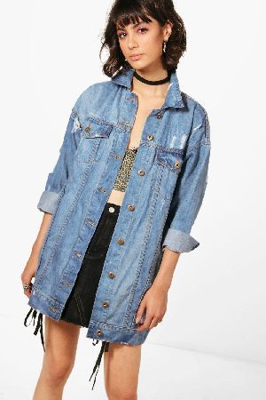 boohoo Oversized Distressed Denim Jacket dark blue #Zoe