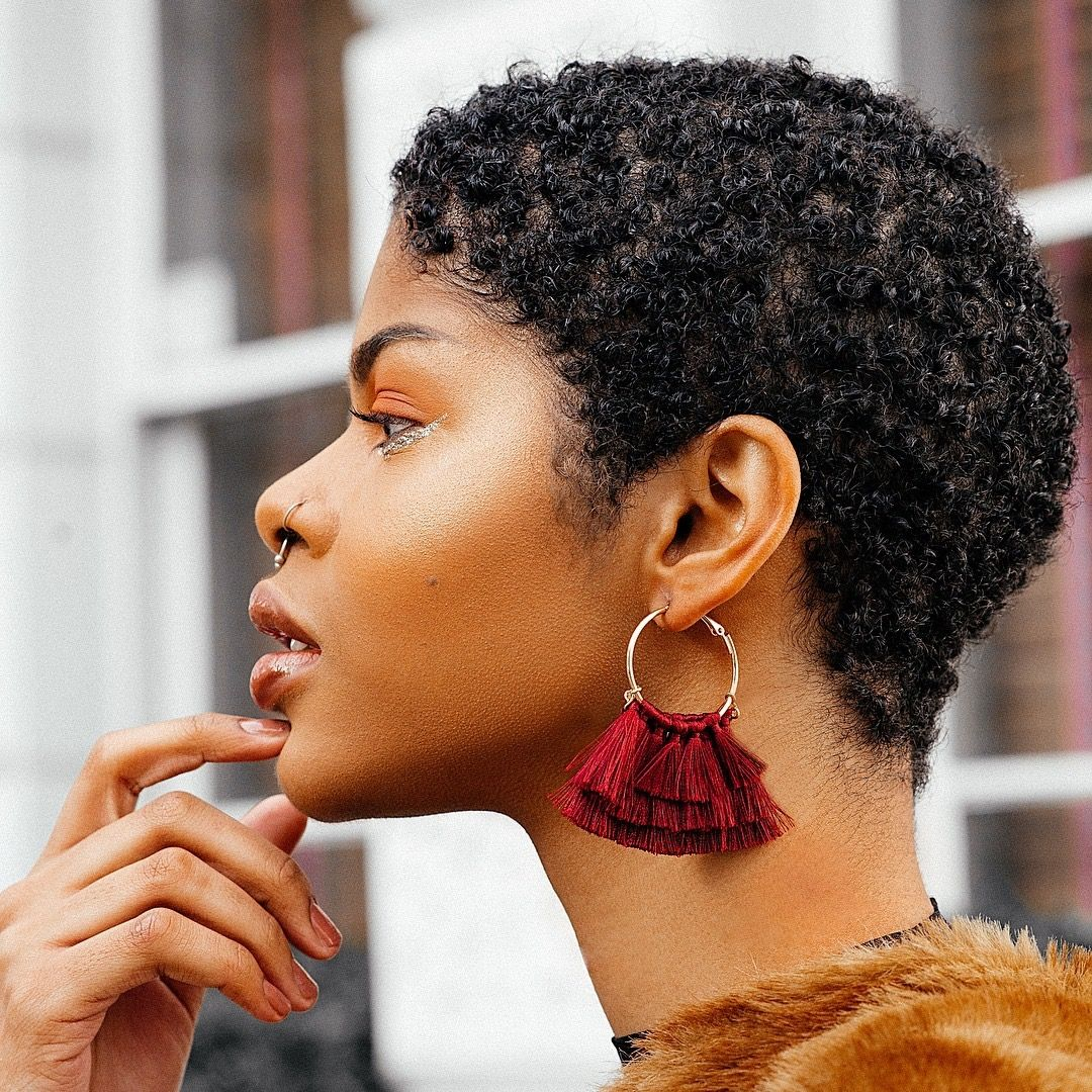 Her Earrings Are So Cute Natural Hair Styles Short Natural