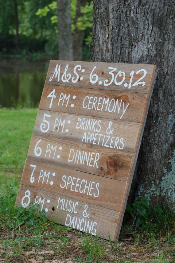 Reception Schedule Menu Board Wedding Itinerary Sign Welcome Entrance Ceremony Country Rustic
