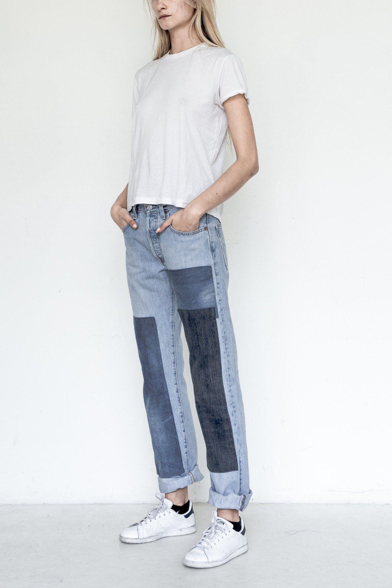 Cotton Unisex Patchwork Denim Ropa Moda Reciclar Jeans