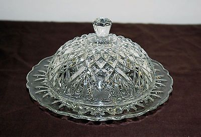 Anchor Hocking Glass Prescut Pineapple Design Round Butter Dish with Dome