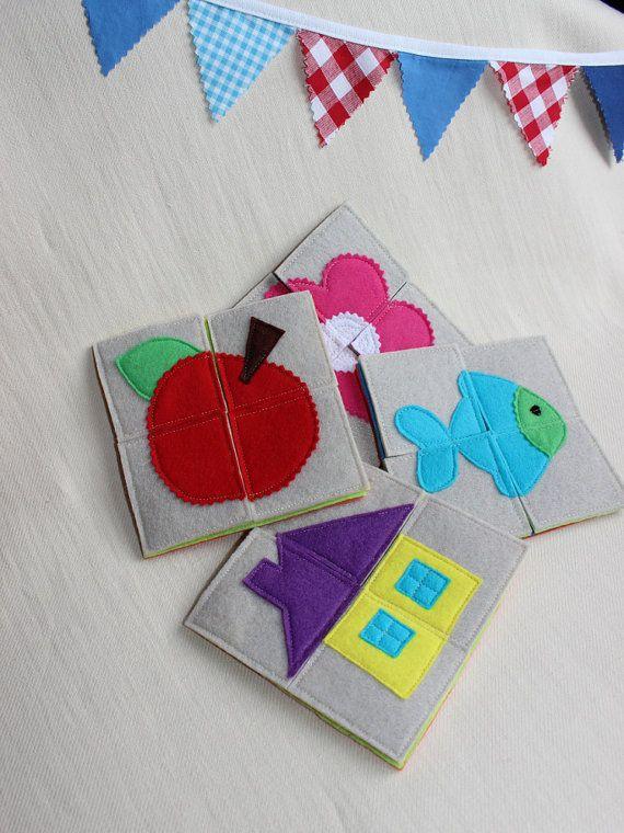 Jeu Eveil Bébé, Mon premier puzzle, Montessori, Puzzle Feutrine,Cadeau Naissance, Puzzle Maison, Poisson, Fleur, Jeu Enfant
