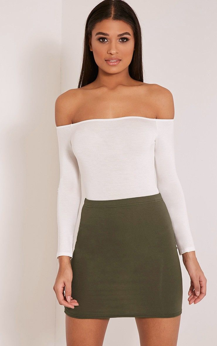 Khaki Jersey Mini Skirt Featuring soft and versatile jersey fabric ...