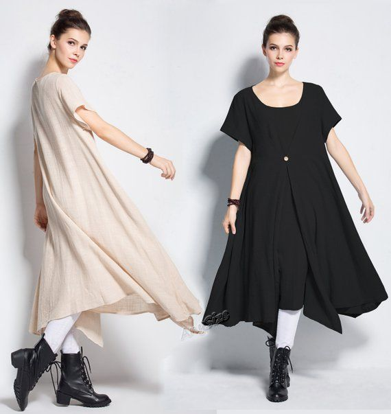 Anysize Asymmetry Fake Two Piece Soft Linen/&Cotton Spring Summer Dress Plus Size Clothing Y233