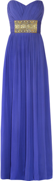Notte By Marchesa Strapless Embellished Silk-chiffon Gown
