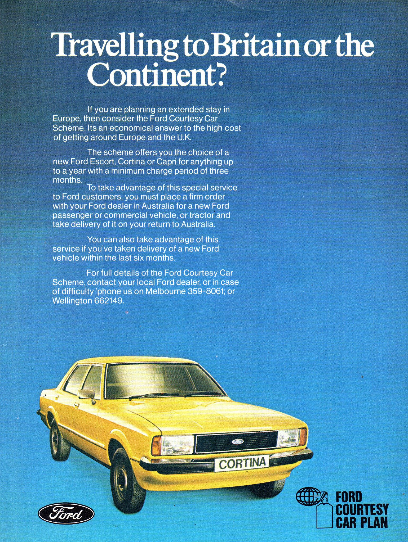 1978 Te Ford Cortina Travelling To Britain Or The Continent Courtesy Car Plan Aussie Original Magazine Advertisement Car Ford Ford Classic Cars