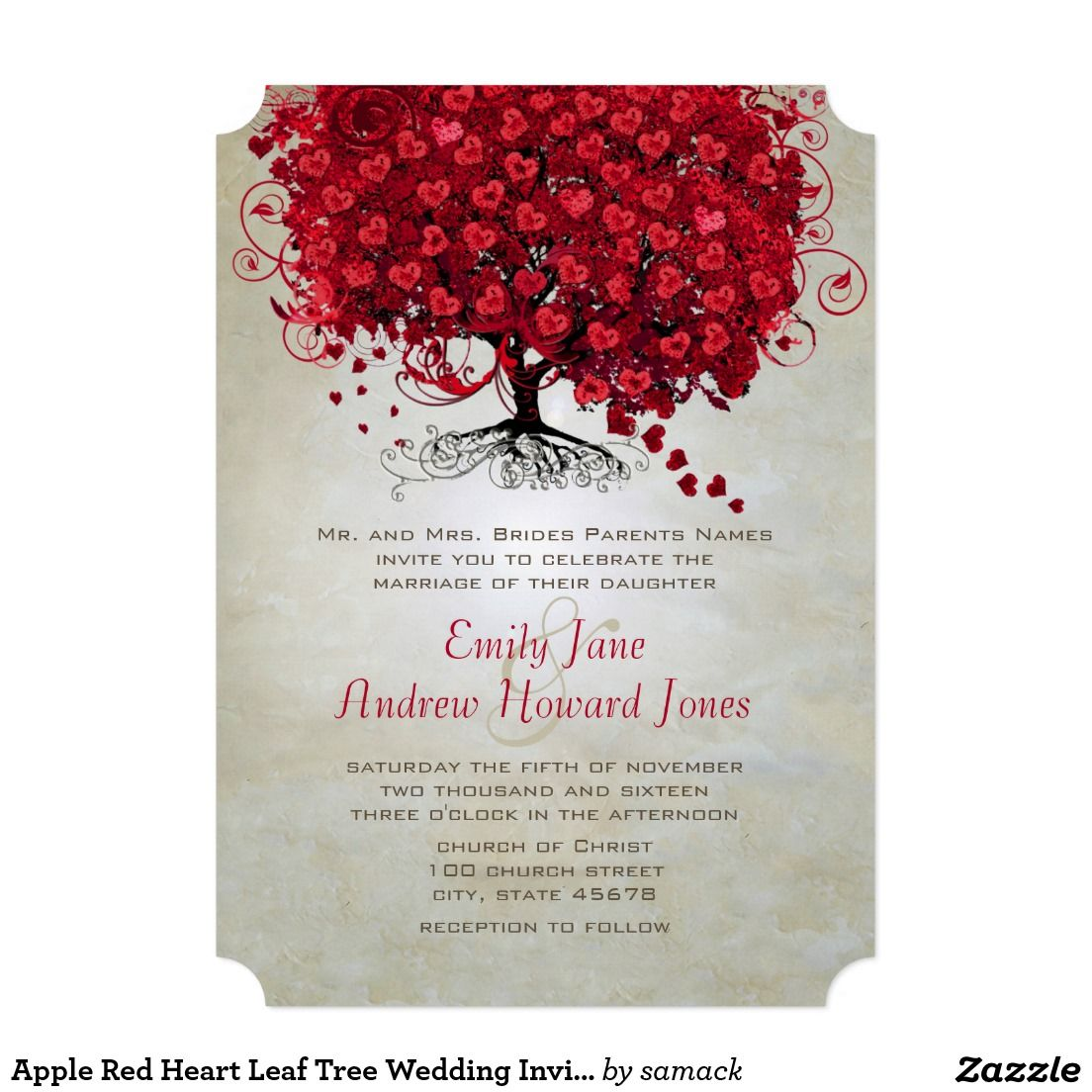 Elegant Forest Red Heart Leaf Tree Wedding Invite | Tree wedding ...