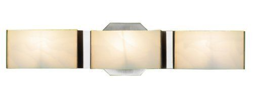 Eurofase BR-3DAK-2N Dakota 3-Light Bathbar, Satin Nickel/White by Eurofase. $59.97. From the Manufacturer                The perfect vanity accent, the Dakota line is a masterfully crafted design. A tranquil frosted glass is held in place gently with slim chrome clips. A triangulated backdropraises the shade slightly to allow light to spill serenely into any setting. Although style and design are central to the company's philosophy Eurofase goes to great lengths to ...