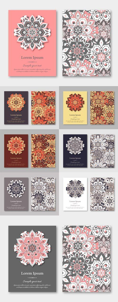 Vector Cards, Flyers, Brochures, Templates with Hand Drawn Mandala - flyers and brochures templates