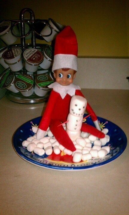 Elf on the shelf ideas snow day with marshmellows Elf on the shelf ideas snow day with marshmellows
