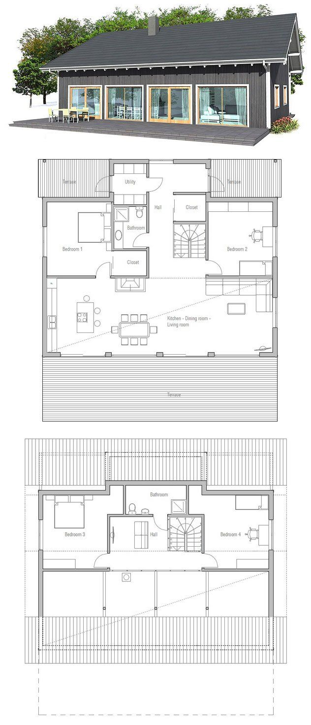 Small Four Bedroom House Plans Classical Small House Plan Spacious Kitchen Dining Living