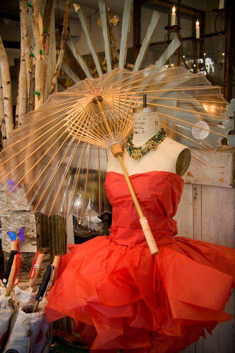 tissue paper dress ~Paris Flea Market in Savannah...cool umbrella.