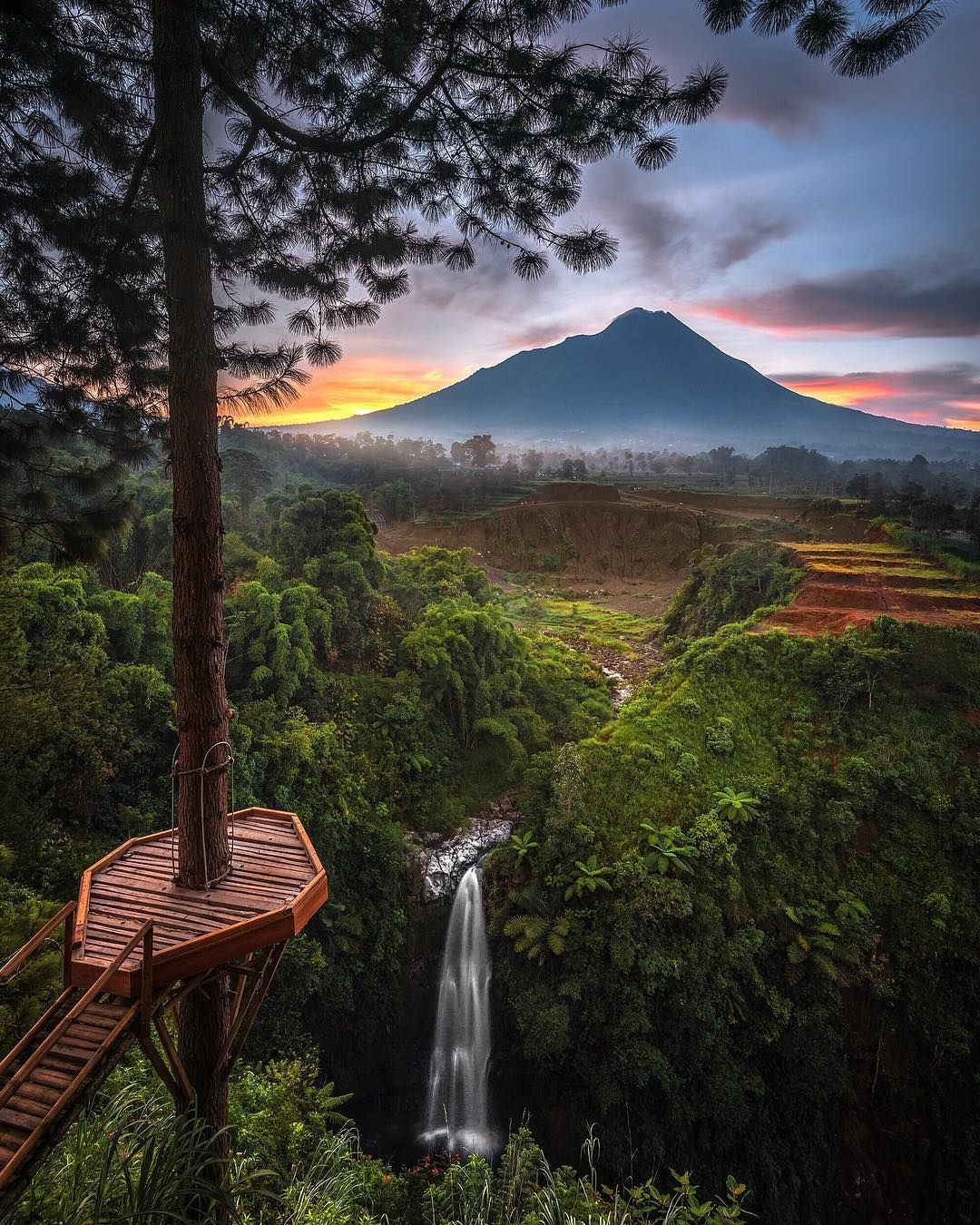 located in the tropical forest of Indonesia, kedung kayang