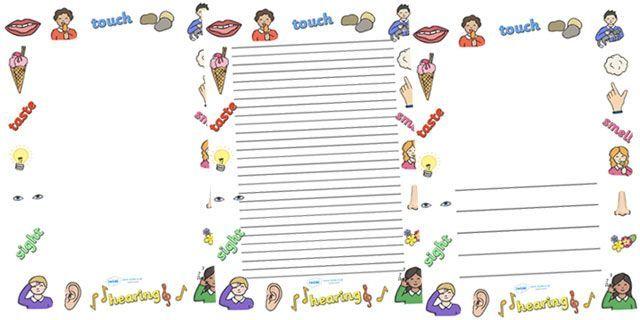five senses page border 5 senses writing template