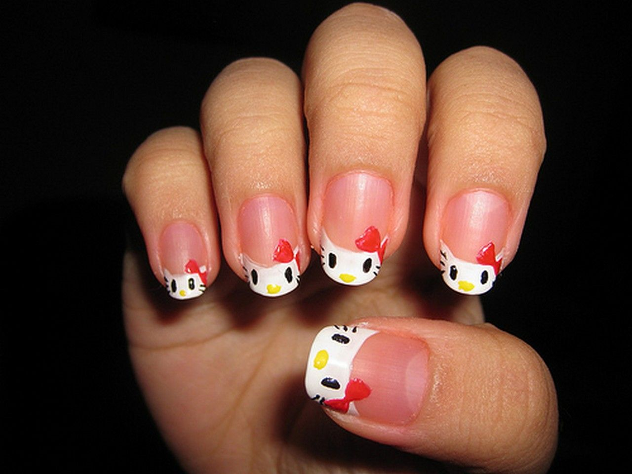 white simple hello kitty acrylic nail designs - http ...