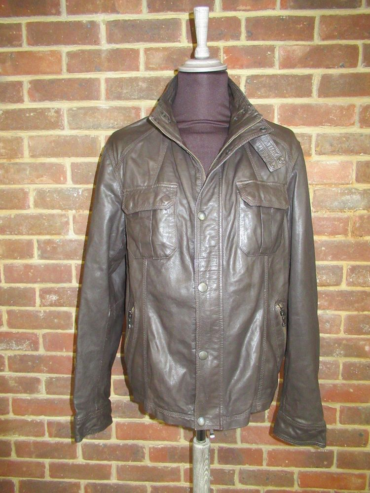 9e5ea87aeb89b Men s Ted Baker Brown Leather Jacket Coat Ted Size 6   XXL  fashion   clothing