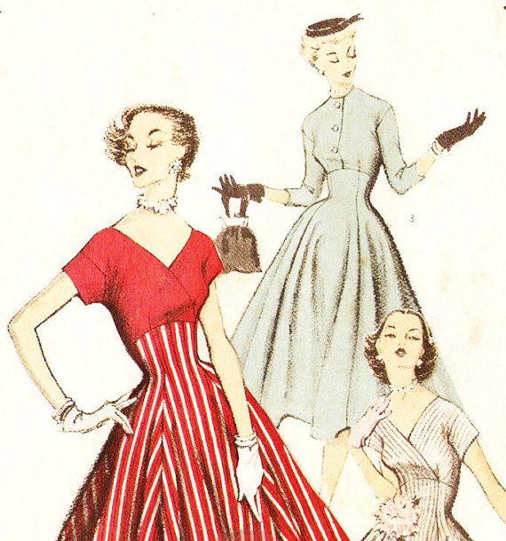 Advance 6518 Vintage 1950s Misses\' Princess Seam Dress with Surplice ...