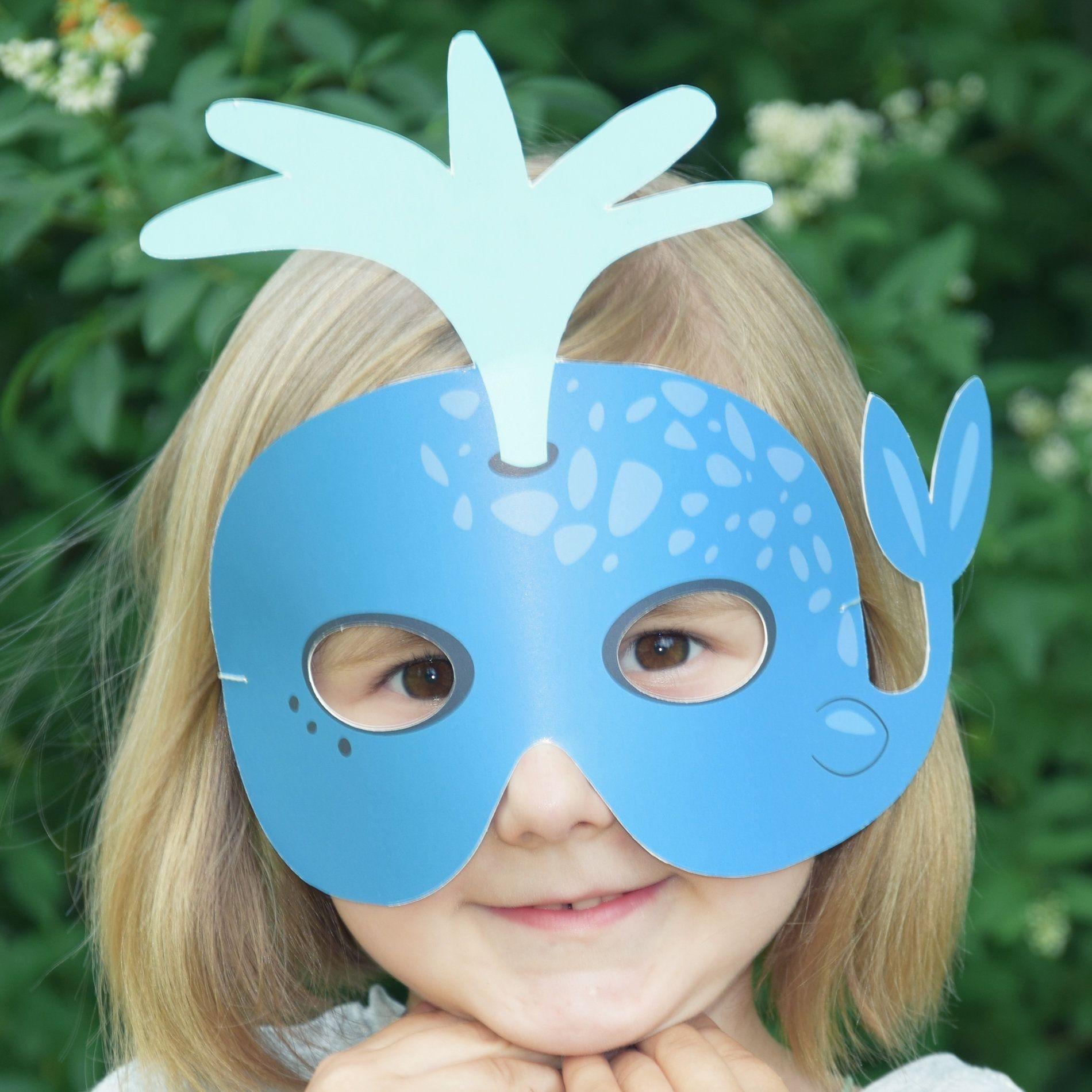 Blue Whale Printable Kids Mask Sea Life Mask Whale