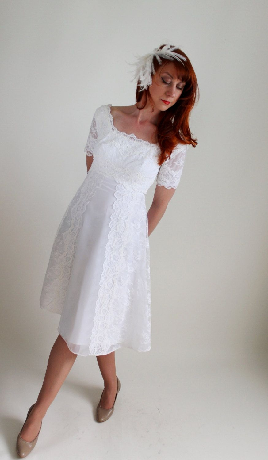 1960s White Lace Short Wedding Dress. Mad Men Fashion. Mod