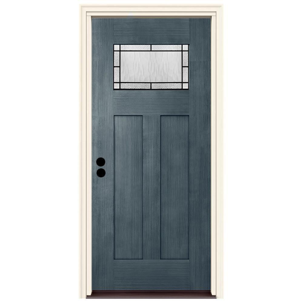 Jeld Wen 36 In X 80 In Right Hand 1 Lite Craftsman Wendover Denim Stained Fiberglass Prehung Front Door With Brickmould Blue Craftsman Front Doors Craftsman Door Diy Barn Door Hardware