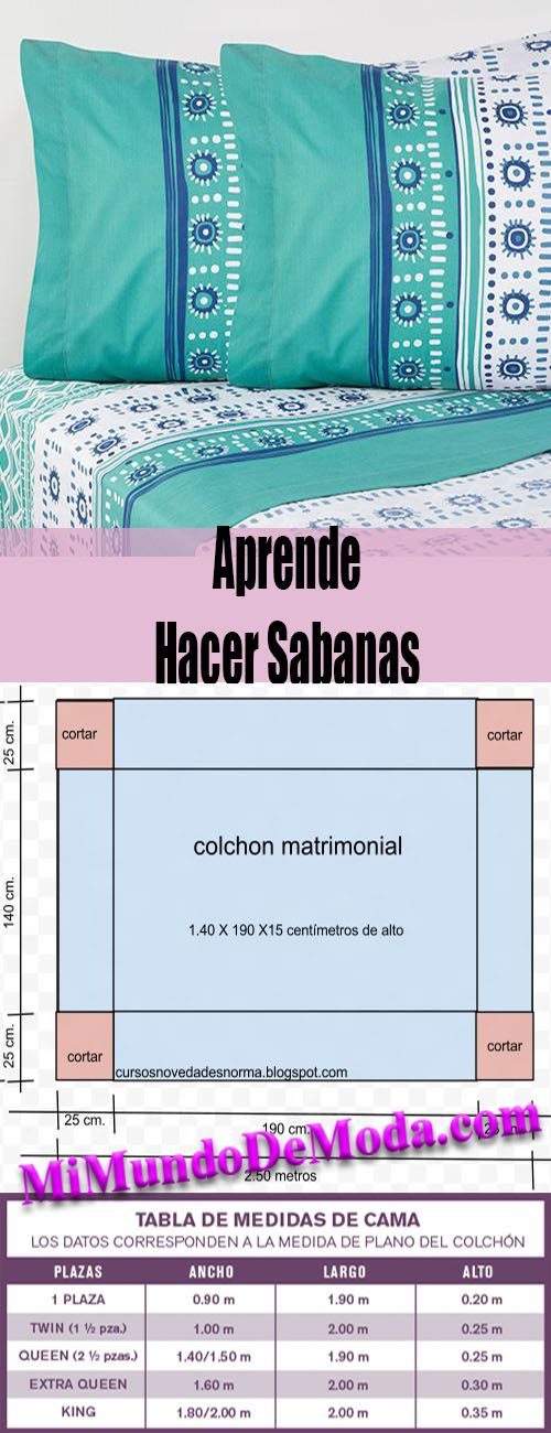 Como Hacer Sabanas | Fashion sewing, Easy sewing, Sewing