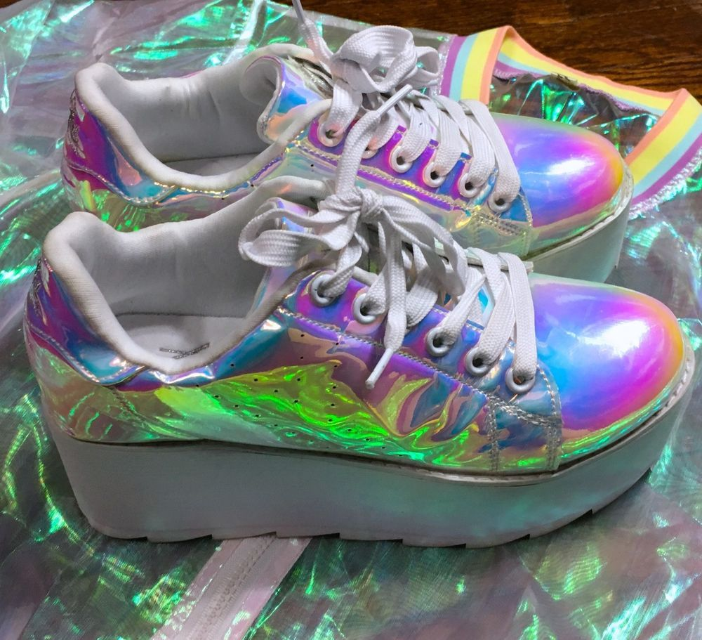 11629f06c6802 Y.R.U. LALA ATLANTIS Prism HOLOGRAPHIC Shoes PLATFORM (9) Top Jacket ...