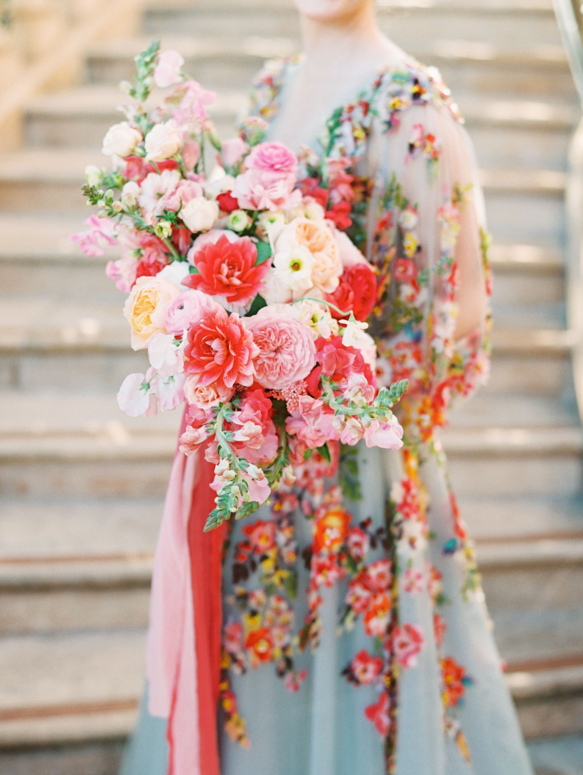 Colorful Marchesa Wedding Gown With Pink Editorial Bridal Bouquet Fairmont Grand Del Mar Compass Flor Colorful Bridal Bouquet Bridal Bouquet Floral Wedding