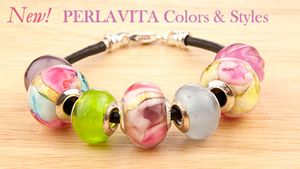 These new PERLAVITA, large hole authentic Murano Glass have all the colors of summer. Even if you never made jewelry, you can make your own charm bracelet. Our beads fit most European Charm Bead bracelet systems.